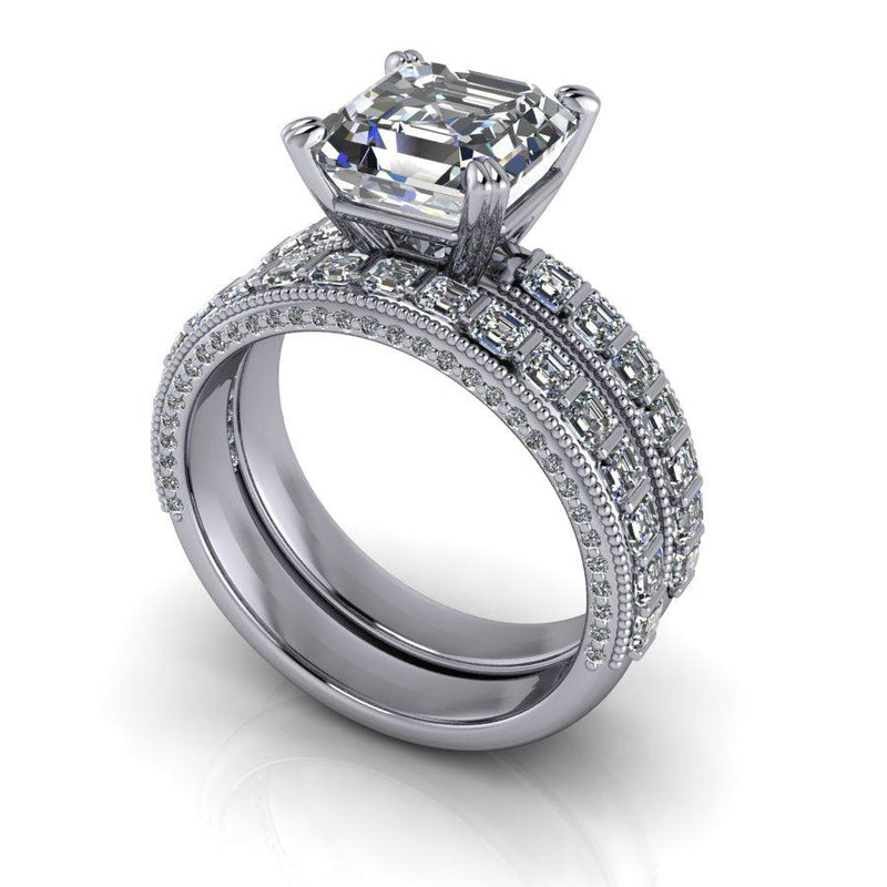 Asscher Forever On Moissanite & Diamond Engagement Ring/Bridal Set-Bel Viaggio Designs