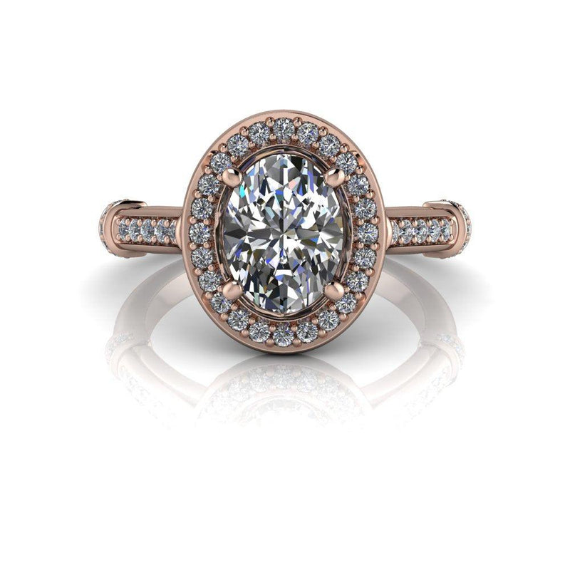 1.75 ctw Oval Forever One Moissanite and Lab Grown Diamond Engagement Ring-Bel Viaggio Designs