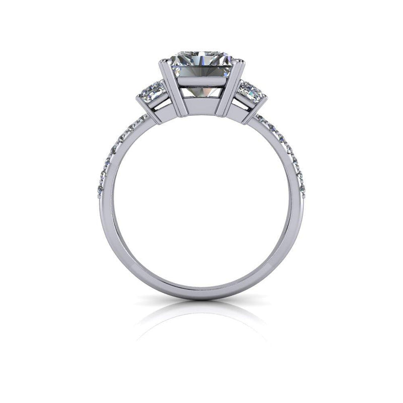 3.62 CTW Forever One Radiant Cut Three Stone Engagement Ring-Bel Viaggio Designs