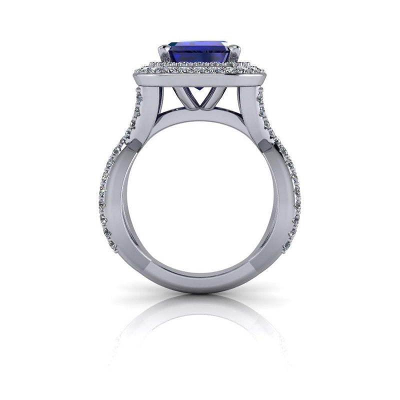 5.15 CTW Emerald Cut Sapphire & Diamond Halo Engagement Ring-Bel Viaggio Designs