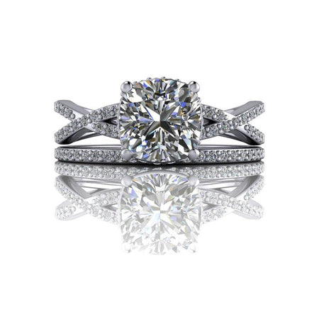 1.75 ctw Cushion Cut Moissanite & Diamond Woven Engagement Ring/Bridal Set-Bel Viaggio Designs