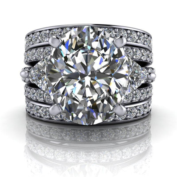 7.08 CTW Three Stone Anniversary Moissanite Ring-Bel Viaggio Designs