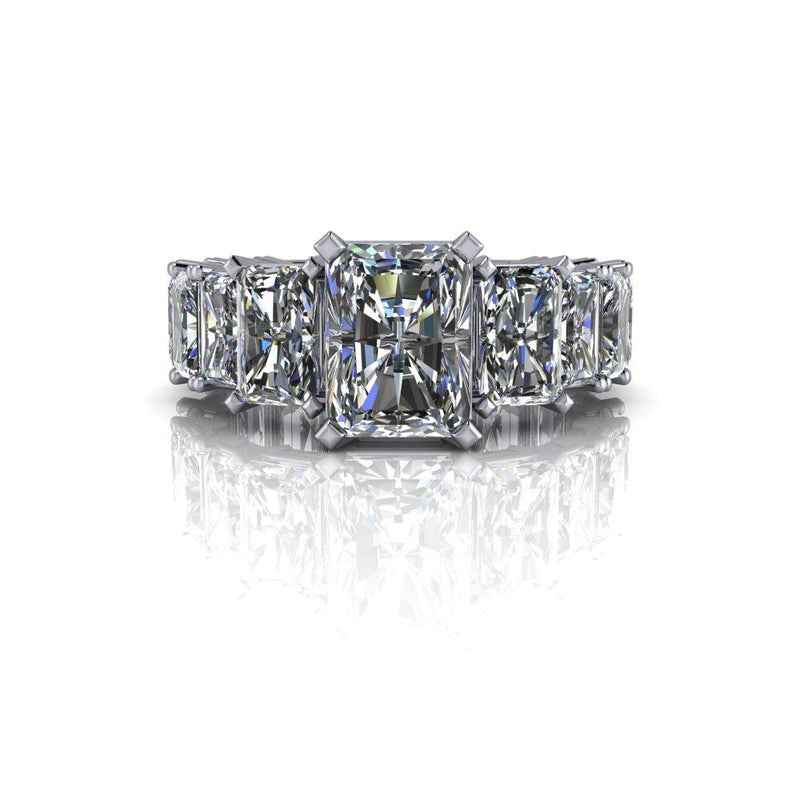 7.16 CTW Forever One Moissanite Radiant Cut Engagement Ring-Bel Viaggio Designs