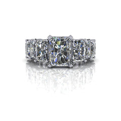 7.16 CTW Forever One Moissanite Radiant Cut Engagement Ring-Forever One-Bel Viaggio Designs-Bel Viaggio®