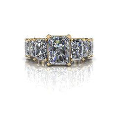 7.16 CTW Graduated Radiant Cut Partial Eternity Engagement Ring-Bel Viaggio Designs, LLC