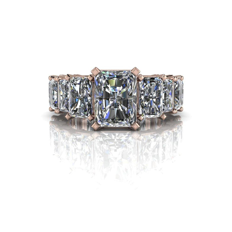 7.16 CTW Graduated Radiant Cut Partial Eternity Engagement Ring-Bel Viaggio Designs