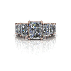 7.16 CTW Graduated Radiant Cut Partial Eternity Engagement Ring-BVD