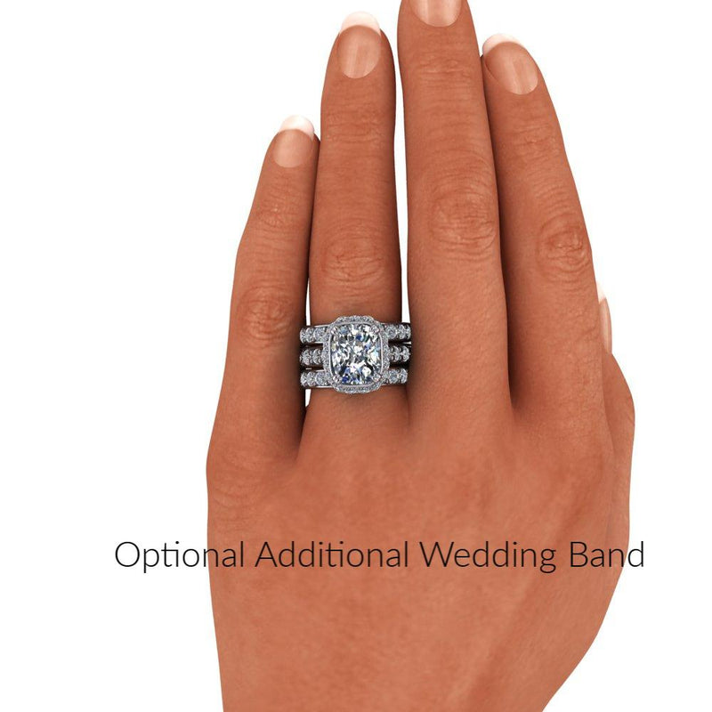 7.52 CTW Elongated Cushion Cut Moissanite Halo Engagement Ring/Bridal Set-Bel Viaggio Designs