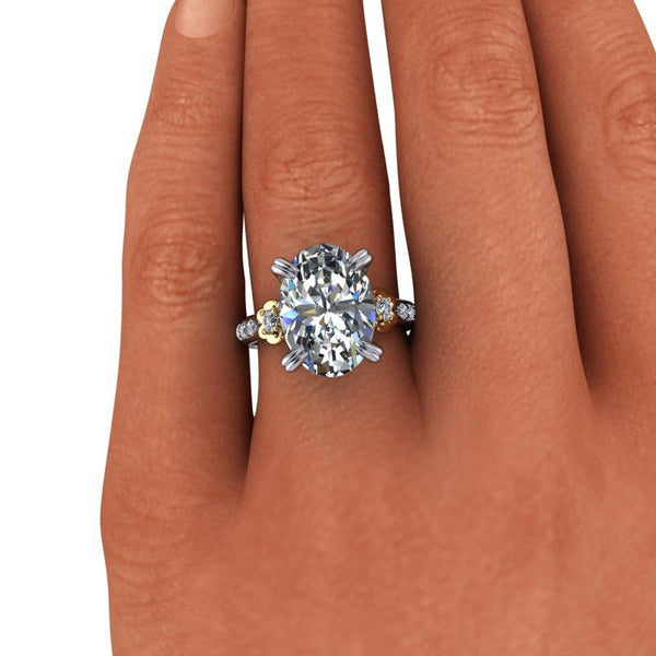 7.74 CTW Exotic Cut Oval Forever One Moissanite Cocktail Ring/Engagement Ring-Bel Viaggio Designs