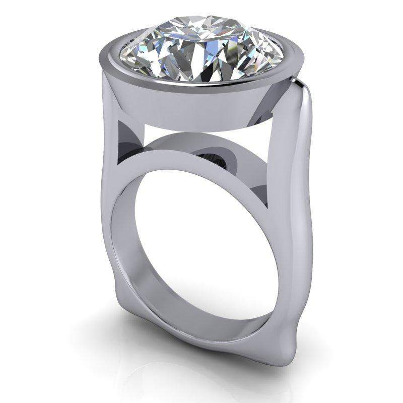 7.75 CTW Bezel Set Round Colorless Moissanite Suspended Modern Statement Ring-Bel Viaggio Designs