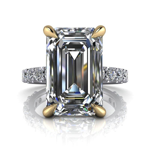 7.82 CTW Exotic Cut Emerald Cut Forever One Moissanite Ring-Bel Viaggio Designs