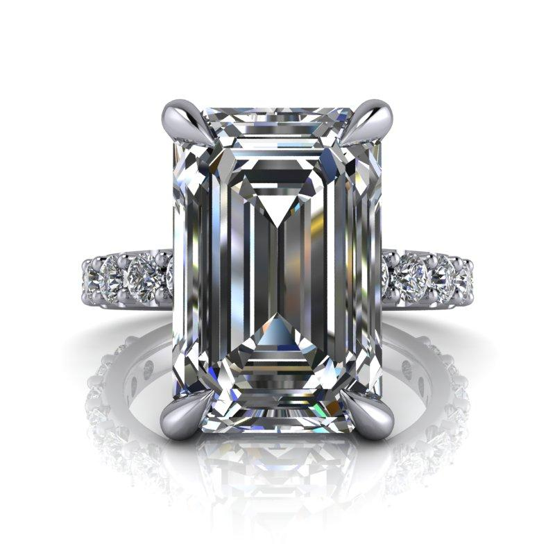 7.82 CTW Exotic Cut Emerald Cut Forever One Moissanite Ring-Forever One-Bel Viaggio Designs-Bel Viaggio®