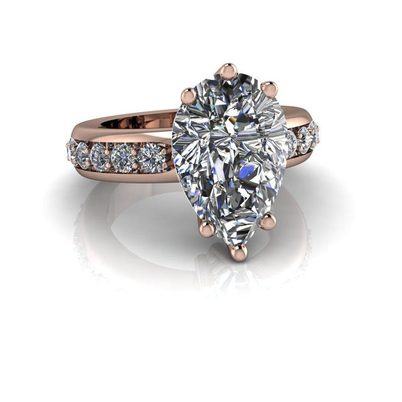 7.98 CTW Pear Shape Forever One Colorless Moissanite Engagement Ring-Bel Viaggio Designs