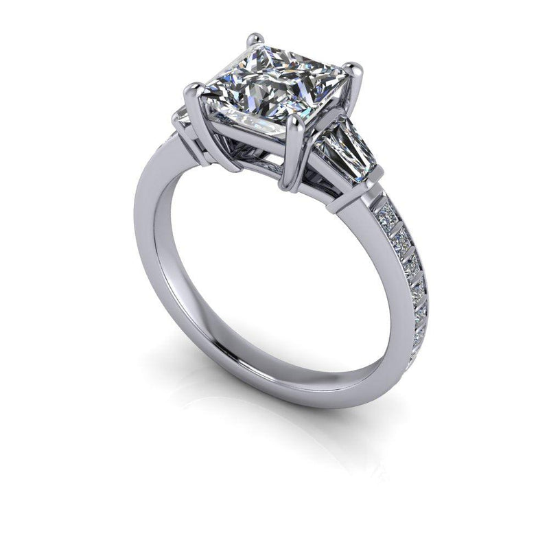Princess Forever One Moissanite and Diamond Engagement Ring 2.22 ctw-Bel Viaggio Designs