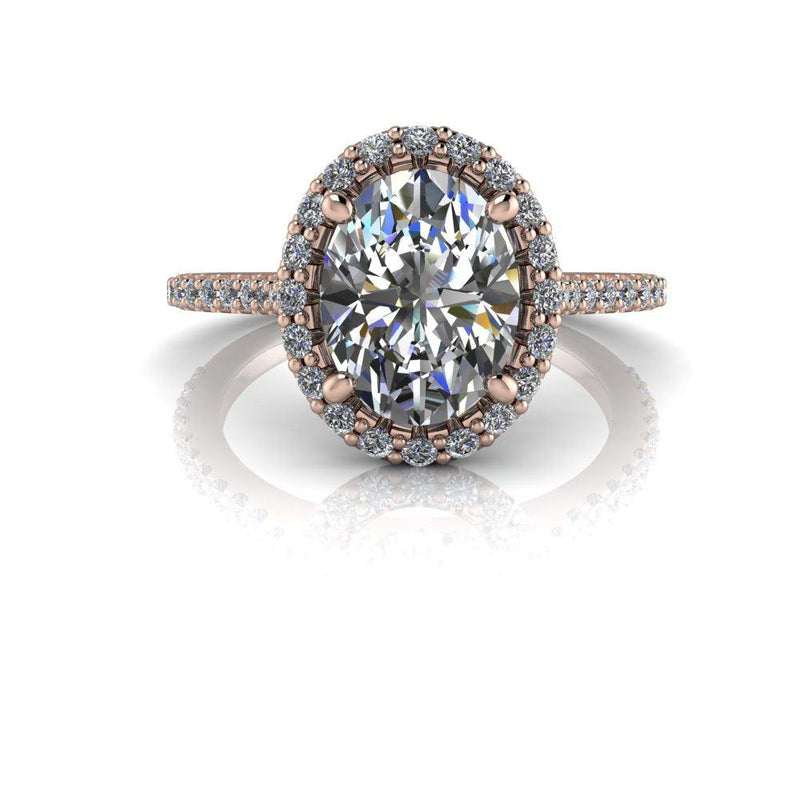 2.50 ctw Oval Moissanite & Lab Grown Diamond Cathedral Engagement Ring-Bel Viaggio Designs