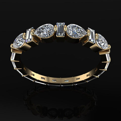 Pear and Baguette Diamond Wedding Band, Eternity Band 1.20 ctw-Bel Viaggio Designs
