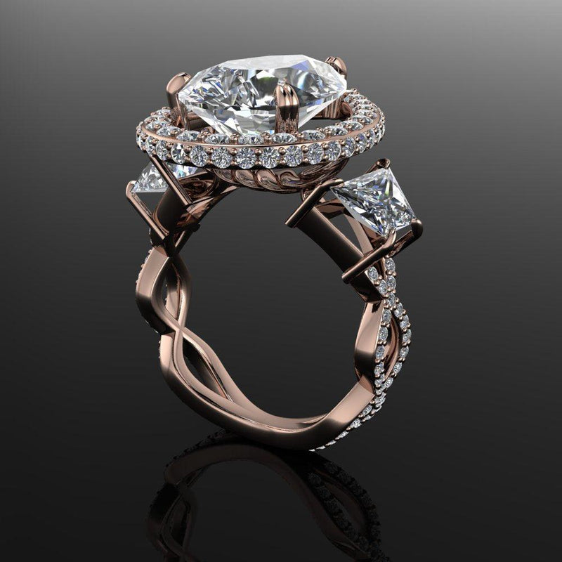 9.97 ctw Forever One Exotic Pear & Trapezoid Engagement Ring-Bel Viaggio Designs