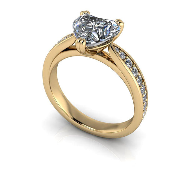 2.10 CTW Heart Shape Forever One Moissanite Engagement Ring-Bel Viaggio Designs