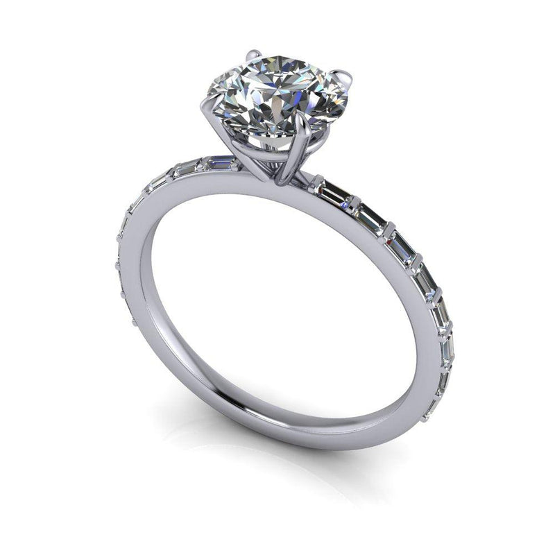 1.57 ctw Round Colorless Moissanite & Diamond Baguette Engagement Ring-Bel Viaggio Designs