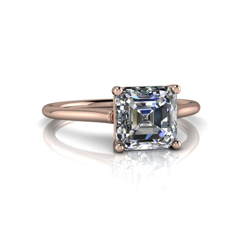 1.30 CTW Asscher Forever One Moissanite Cathedral Solitaire Ring-Bel Viaggio Designs