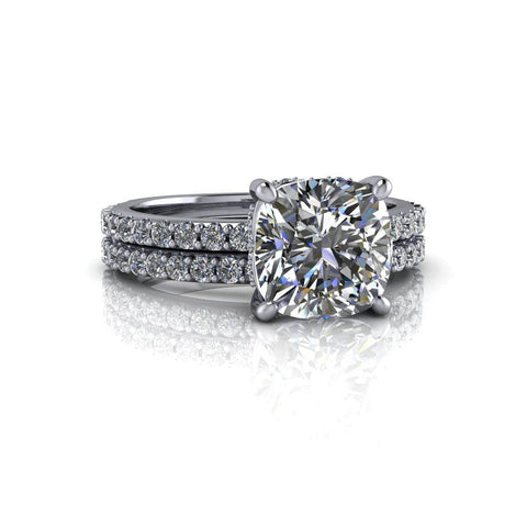 2.66 ctw Cushion Cut Moissanite & Diamond Bridal Set-Bel Viaggio Designs
