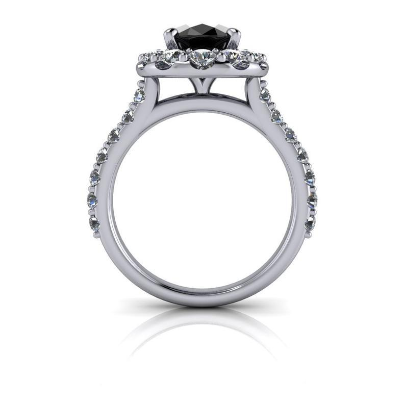 Black Diamond Engagement Ring 3.62 CTW-Bel Viaggio Designs