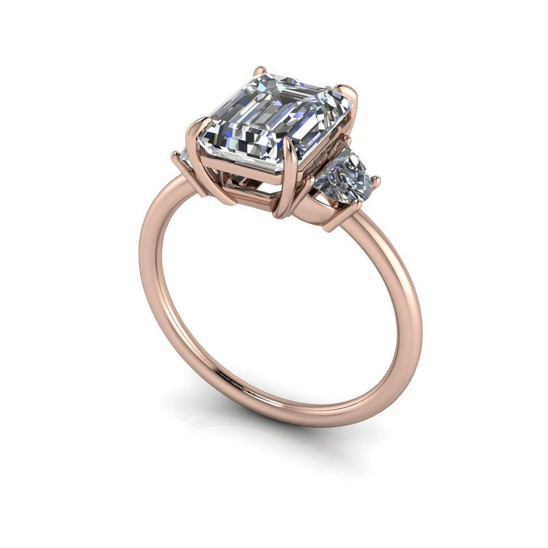 2.96 CTW Emerald Cut Forever One Moissanite Three Stone Ring-Bel Viaggio Designs