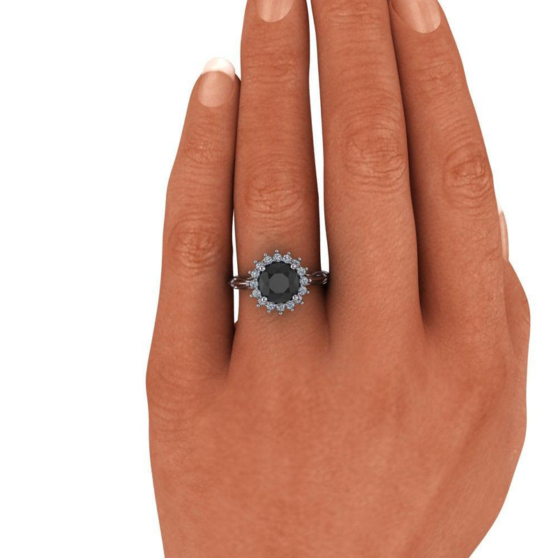 Black Diamond Engagement Ring Halo Ring Vintage Style 2.30 CTW-Bel Viaggio Designs