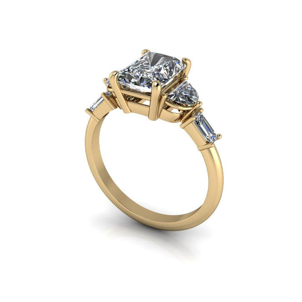 2.46 CTW Radiant Cut Forever One Moissanite Engagement Ring-Bel Viaggio Designs