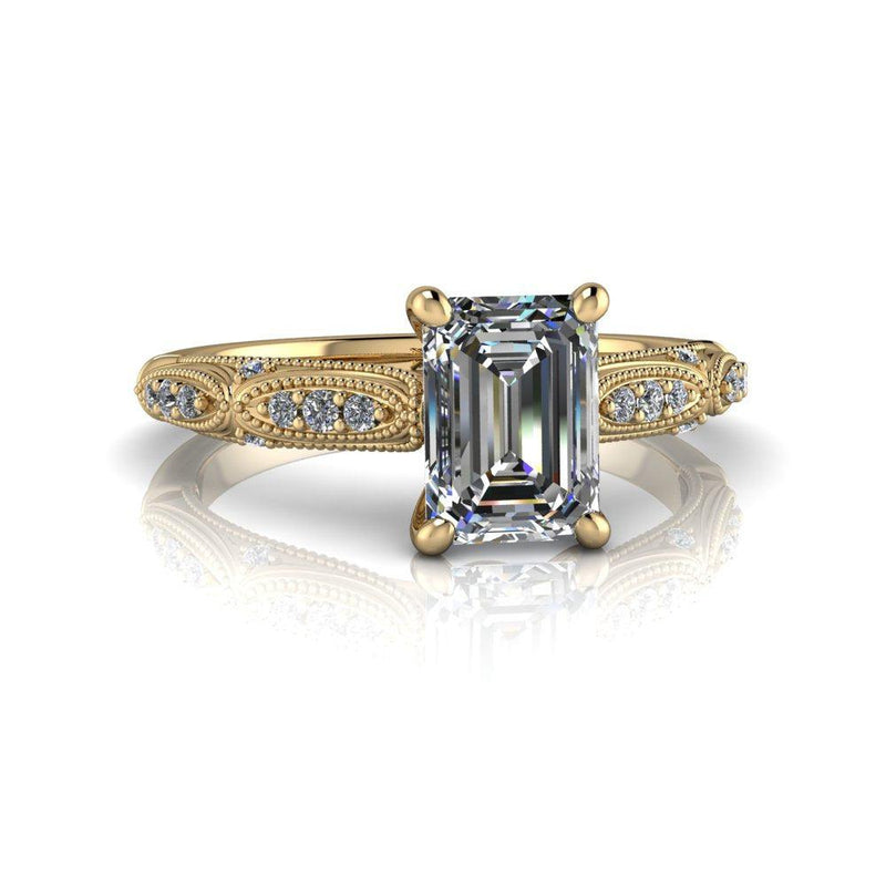 Emerald Colorless Moissanite Engagement Ring Vintage Style-Bel Viaggio Designs