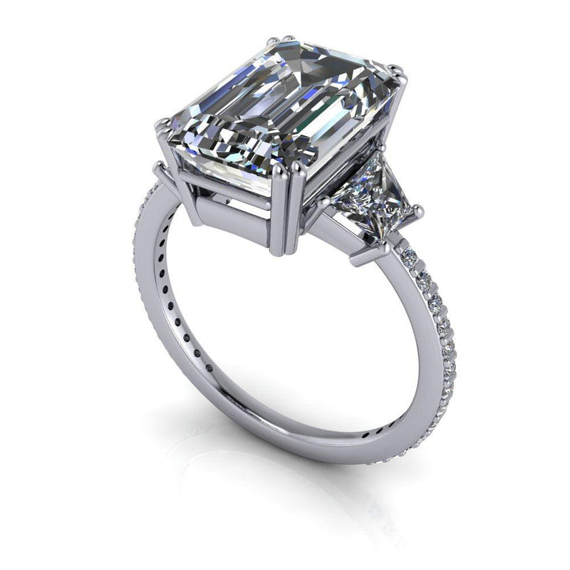 5.61 ctw Emerald Cut & Trapezoid Colorless Moissanite Three Stone Ring-Bel Viaggio Designs