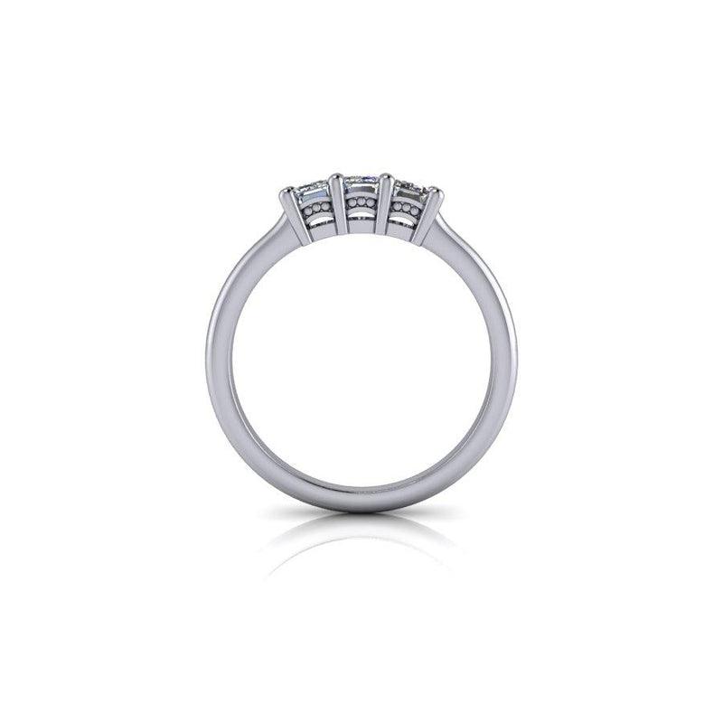 .81 CTW Emerald Cut Moissanite Three Stone Anniversary Ring, Wedding Band-Bel Viaggio Designs
