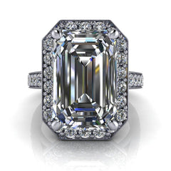 8.10 CTW Emerald Cut Exotic Stone Forever One Moissanite Anniversary Ring-Bel Viaggio Designs, LLC