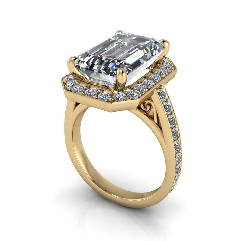 8.10 CTW Emerald Cut Exotic Stone Forever One Moissanite Anniversary Ring-Bel Viaggio Designs