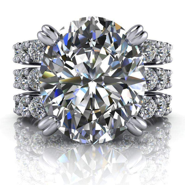 8.20 CTW Oval Bridal Set Colorless Moissanite Engagement Ring and Moissanite Wedding Bands-BVD