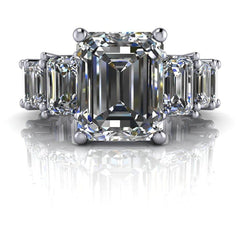 8.26 CTW Forever One Moissanite Emerald Cut Partial Eternity Engagement Ring-Bel Viaggio Designs, LLC