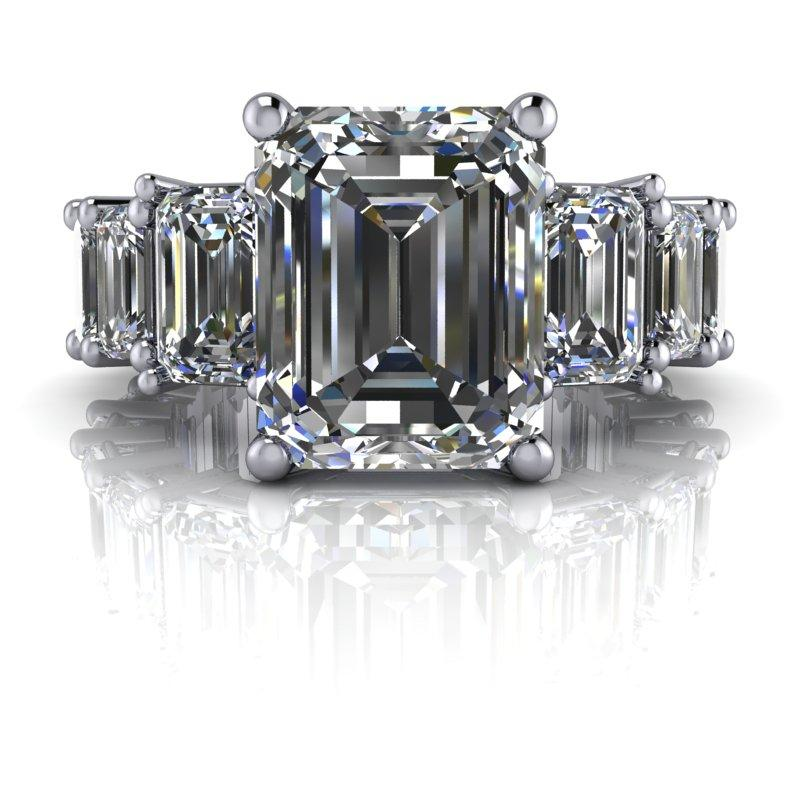 8.26 CTW Graduated Emerald Cut Partial Eternity Moissanite Engagement Ring-BVD