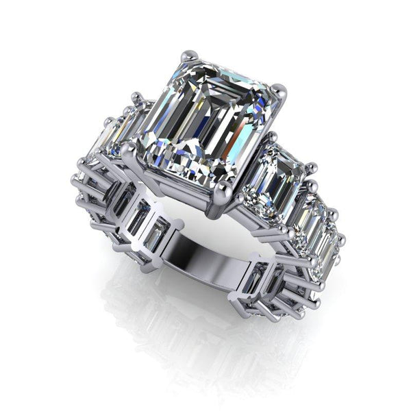 8.26 CTW Graduated Emerald Cut Partial Eternity Moissanite Engagement Ring-Bel Viaggio Designs