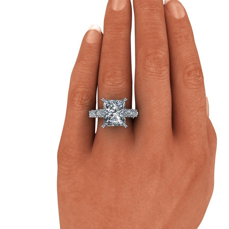 8.35 CTW Radiant Cut Moissanite 7-Stone Anniversary Ring, DEF Color-Bel Viaggio Designs
