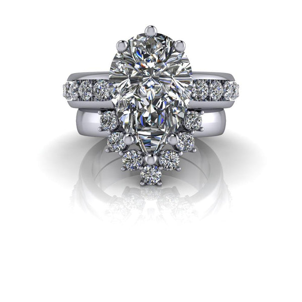 8.39 CTW Pear Shape Forever One Colorless Moissanite Engagement Ring/Bridal Set-Bel Viaggio Designs