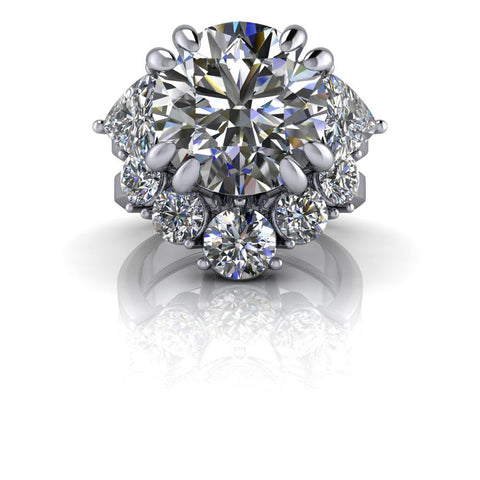 8.51 ctw Charles & Colvard Round Hearts and Arrows & Trillion Moissanite Three Stone Ring-Bel Viaggio Designs
