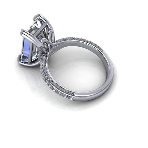 8.55 CTW Emerald Cut Forever One Moissanite Statement Ring, Exotic Cut Forever One Ring-Bel Viaggio Designs
