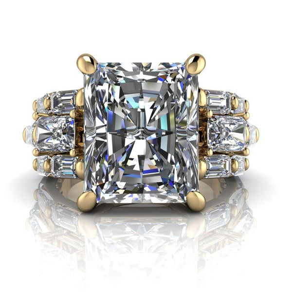 8.72 CTW Radiant Cut Colorless Moissanite Anniversary Ring-Bel Viaggio Designs