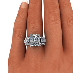 8.72 CTW Radiant Cut Forever One Moissanite Anniversary Ring-BVD