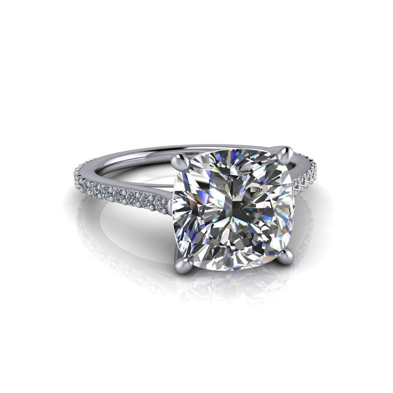 3.60 CTW Forever One Moissanite Cathedral Engagement Ring-Bel Viaggio Designs