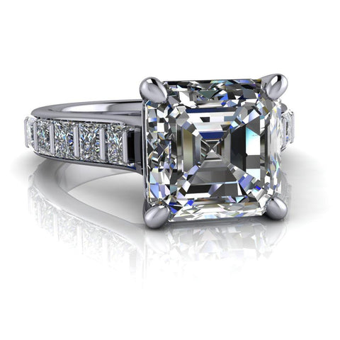 Asscher & Princess Cut Moissanite Cathedral Engagement Ring/Bridal Set-Bel Viaggio Designs
