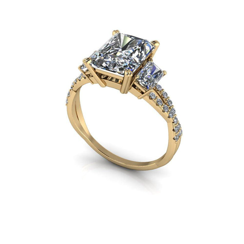 3.62 CTW Radiant Cut Three Stone Engagement Ring-Bel Viaggio Designs