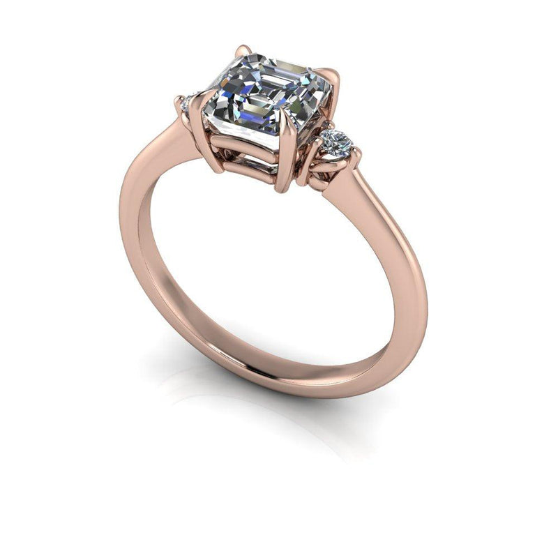 Asscher Colorless Moissanite Three Stone Engagement Ring-Bel Viaggio Designs