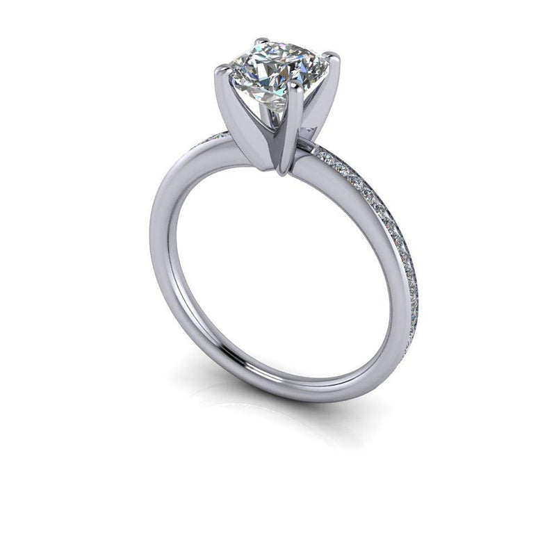 1.57 CTW Cushion Cut Charles & Colvard Moissanite Diamond Engagement Ring/Bridal Set-Bel Viaggio Designs