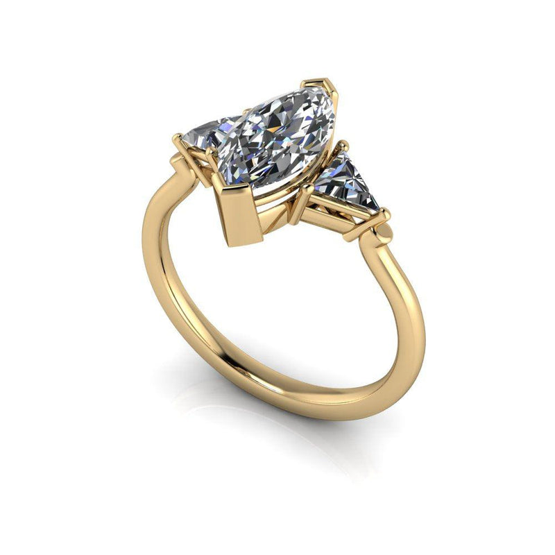 Marquise & Triangle Moissanite Engagement Ring 1.65 CTW-Bel Viaggio Designs
